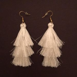 White Fringe Tassel Earrings Firm Price